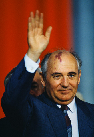 Mikhail Gorbachev on State Visit to Poland